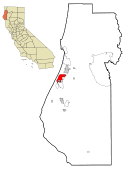Humboldt County California Incorporated and Unincorporated areas Eureka Highlighted.svg