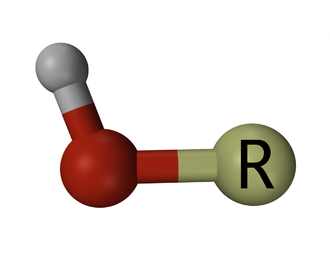 Hydroxy group - Representation of an organic hydroxy group, where R represents a hydrocarbon or other organic moiety, the red and grey spheres represent oxygen and hydrogen atoms respectively, and the rod-like connections between these, covalent chemical bonds.