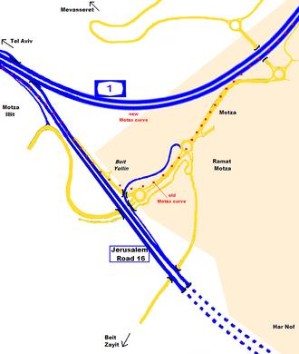 Jerusalem Road 16 - Image: I Ljunction motza prelim tan