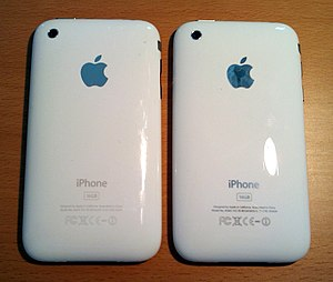 IPhone 3GS - The reverse of the iPhone 3G (left) is almost identical to that of the 3GS, except for the latter's reflective silver text which now matches the silver Apple logo, replacing the 3G's grey text.