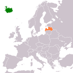 Map indicating locations of Iceland and Latvia