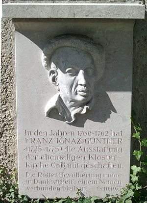 Ignaz Günther - Memorial stone commemorating Ignaz Günther at the former abbey church in Rott am Inn