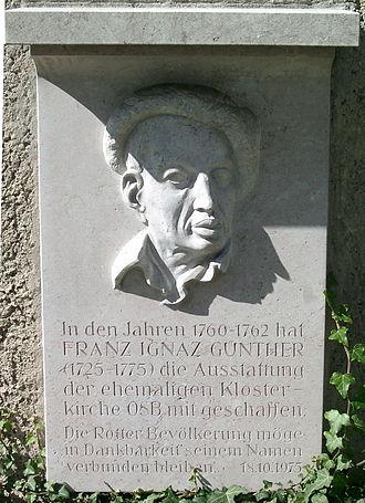 Ignaz Günther - Memorial stone commemorating Ignaz Günther at the former abbey church in Rott am Inn