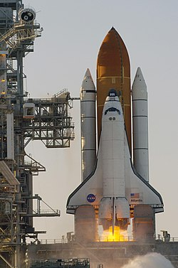 Ignition of the three main engines of Space Shuttle Atlantis.jpg