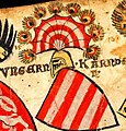 Imre és II. Endre magyar királyok címerpajzsa a zürichi címertekercsen.jpg