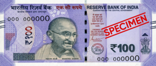Indian 100-rupee note One hundred rupee note used in India