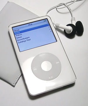 ITunes Store - A fifth-generation iPod with earphones. The only portable devices licensed to play protected music from iTunes Store are iPods, the iPhone, the iPod Touch, the iPad and selected Motorola mobile phones, such as the ROKR.