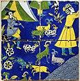 Iran, isfahan, quattro mattonelle che compongono una scena figurata, dinastia savafide, xvii secolo.jpg