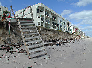 Beach erosion caused by Hurricane Irene in Oct...