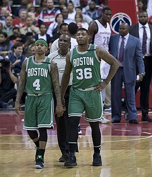 Marcus Smart - Smart (right) in May 2017, with teammate Isaiah Thomas