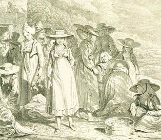 Bad Ischl - English copper engraving Ischl, Sunday Cloathes, buying fruit, dated 1822