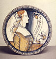 Italian - Dish with Female Bust and Inscription - Walters 481351.jpg