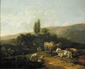 Italian Evening Landscape with Flock and Shepherd