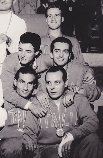 Italy at the 1960 Summer Olympics - Italian sabre team, from top: Pierluigi Chicca, Mario Ravagnan, Giampaolo Calanchini, Wladimiro Calarese and Roberto Ferrari (injured)