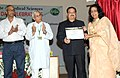 J.P. Nadda presented the AIIMS Excellence Research Award 2015, on the occasion of 60th Institute Day of AIIMS, in New Delhi on September 24, 2015. The Director, AIIMS, New Delhi, Prof. M.C. Mishra is also seen.jpg