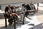 JMSDF US-1A T64-IHI-10E turboprop engine(cutaway model) left front view at MCAS Iwakuni May 5, 2019.jpg