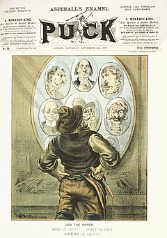 The discovery of the Pinchin Street torso on September 10, 1889 prompted renewed speculation as to the identity of Jack the Ripper: cover of the September 21, 1889, issue of Puck magazine, by cartoonist Tom Merry.