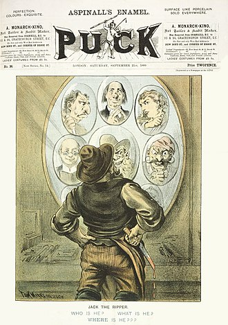 Jack the Ripper suspects - The cover of the 21 September 1889 issue of Puck magazine, featuring cartoonist Tom Merry's depiction of the unidentified Whitechapel murderer Jack the Ripper.