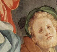 This figure from the Deposition from the Cross (1525-1528) is believed to be a self-portrait of Pontormo as Joseph of Arimathea.