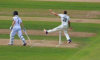 Jake Ball (cricketer) - Image: Jake Ball bowls for Nottinghamshire