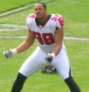 Jamaal Anderson - Anderson warms up with the Atlanta Falcons before a game in 2008.