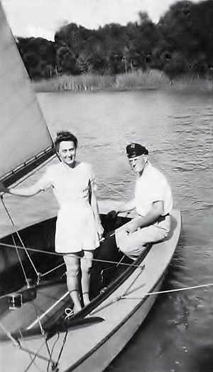White Rock Lake - James Bowen and his wife Julia, sailing on White Rock Lake in the summer of 1940. Mr. Bowen was an avid member of the Corinthian Sailing Club in the late 1930s and early 1940s. He designed and built several fast and beautiful sailboats in the garage of his home located on Ross Avenue in Dallas TX. He built the boats specifically for club sponsored racing events on White Rock Lake.