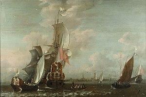 Jan Baptist Bonnecroy - A Middelburg Ship Lying off Middelburg