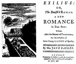 Jane Barker - Title Page from the 1715 edition of Jane Barker's Exiles.