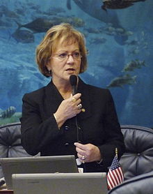 Rep. Janet Long, D-Seminole, seeks the support of her colleagues for a measure considered on the House floor April 27, 2009, in Tallahassee, Florida.