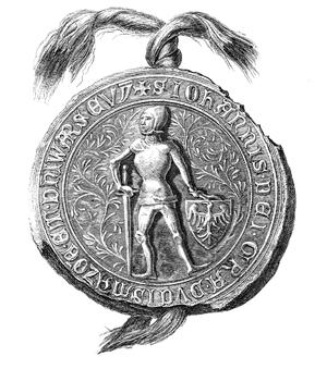 Janusz I of Warsaw - Pedestrian seal of Janusz I, c. 1376.
