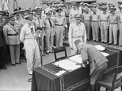 Japanese Surrender at Tokyo Bay, 2 September 1945 A30427A.jpg