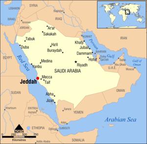 Yalamlam - Image: Jeddah, Saudi Arabia locator map