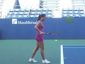 Jelena Janković - Janković practicing at the 2007 US Open.
