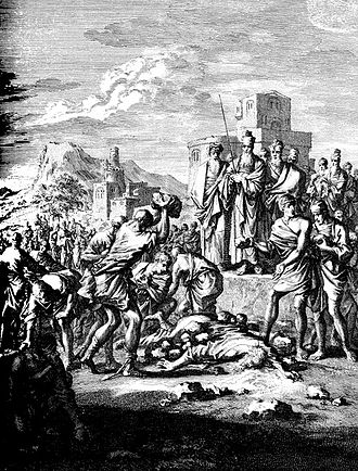 Naboth - Copper engraving of the death of Naboth by Caspar Luiken, 1712