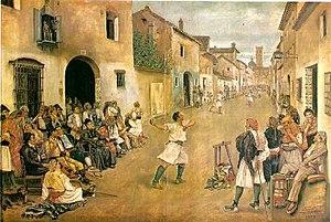 """Valencian pilota - """"Joc de pilota"""", 1881, llargues."""