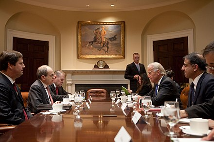 Special Representative of the United Nations Ad Melkert and Vice President of the United States Joe Biden during a meeting in the Roosevelt Room at the White House on 5 January 2010. Joe Biden meets Ad Melkert.jpg