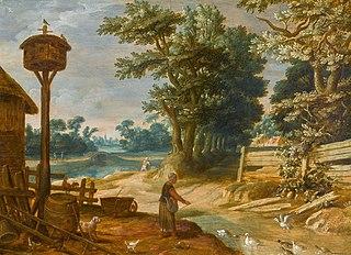 Landscape with a peasant woman feeding ducks