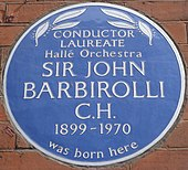 blue commémorative plaque on Barbirolli's birthplace