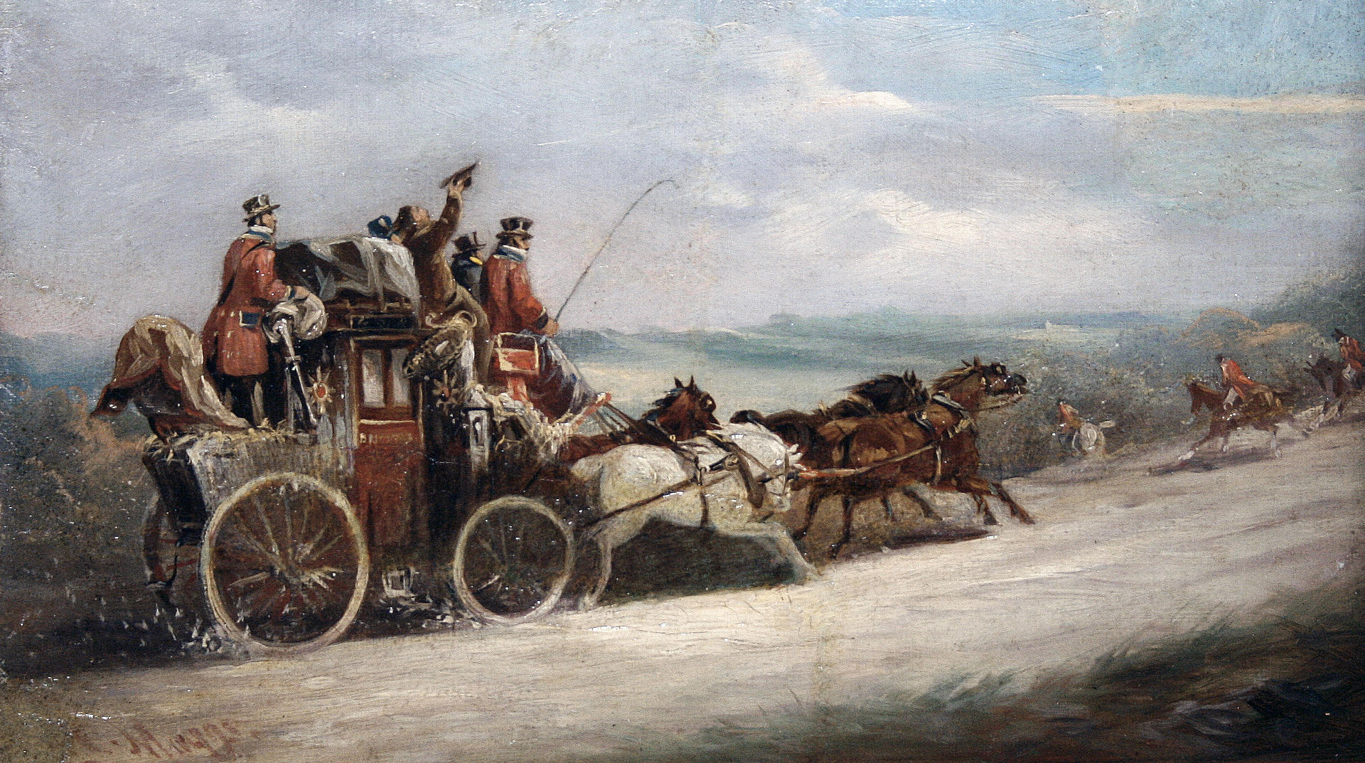John Charles Maggs - A coach and four with a hunt passing before them.jpg