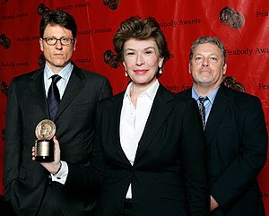 Dexter (TV series) - John Goldwyn, Sara Colleton and Jeff Lindsay at the 67th Annual Peabody Awards for Dexter