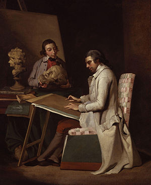 John Hamilton Mortimer - Self-portrait of John Hamilton Mortimer with a student, circa 1765