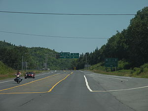 New Brunswick Route 11 - Route 11's intersection with route 17, in Tide Head.