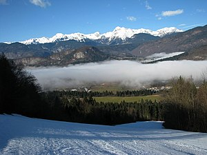 Bohinj - Bohinj and Julian Alps from the ski slopes of Kobla, above Bohinjska Bistrica