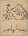 Jupiter, disguised as an eagle, with Ganymede, and a sketch of two peacocks MET DP805855.jpg
