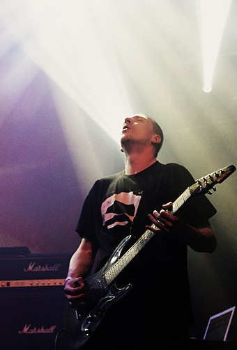 Broadrick performing with Godflesh in 2011 Justin Broadrick Godflesh Roadburn.jpg