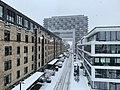 Köln Rheinauhafen Kranhäuser im Schnee von Severinsbrücke aus.jpg