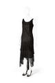 KLÄNNING Ankellång, svart klänning i spets med flikar. Har tillhört Ellen Roosval, f. von Hallwyl - Hallwylska museet - 89321.tif