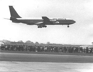 Jomo Kenyatta International Airport - A Kenya Airways Boeing 707 at a Nairobi Airshow in 1977