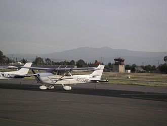 Reid–Hillview Airport - Overlooking transient parking and the control tower.