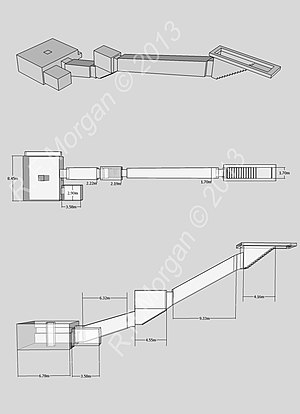 KV21 - Isometric, plan and elevation images of KV21 taken from a 3d model